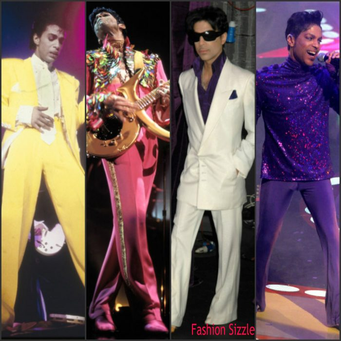 Prince Rogers Nelson aka Prince died on Thursday at age 57 . He was a music and style icon , he did things his way and had his own unique sound and style. Whether he was rocking sequin, platform heels, ruffles,  ,  vibrant colorful suits , curly hair , or his signature cane and three-eyed sunglasses. Below are some of the legends sizzling  looks.