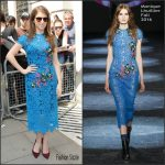 Anna Kendrick in   Monique Lhuillier  – Leaving BBC Radio2 Studios