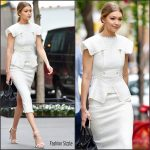 Gigi Hadid  in Roland Mouret  Out In  New York