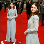Jenna Coleman in Burberry at the Me Before You London Premiere