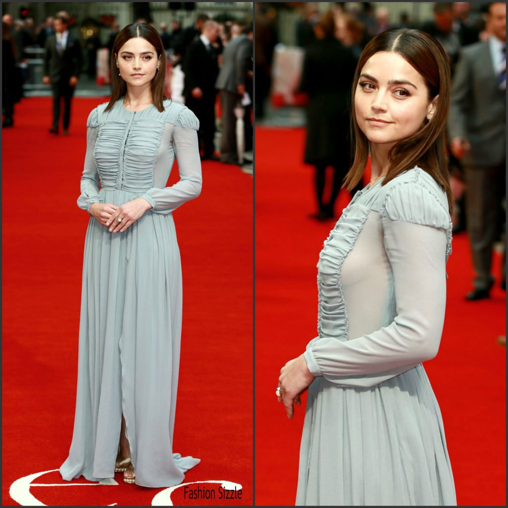 Jenna Coleman in Burberry at the Me Before You London Premiere -  Fashionsizzle