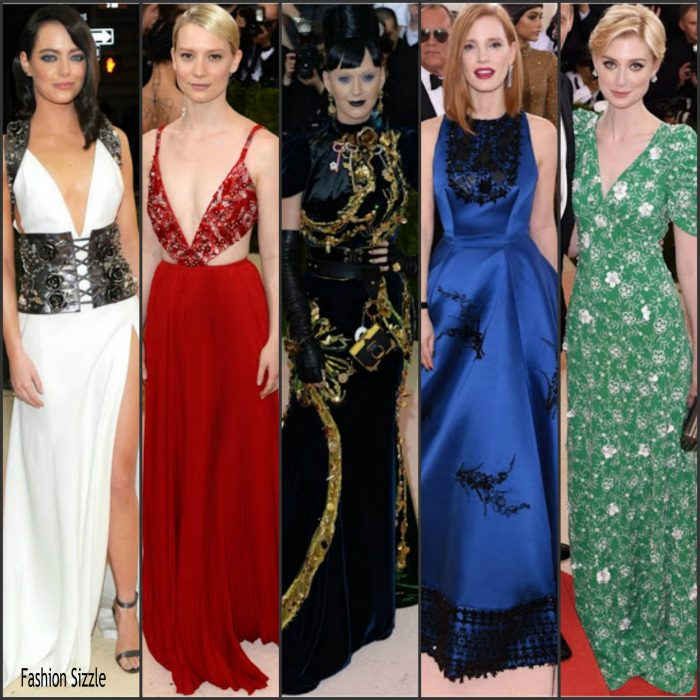 Katy Perry , Jessica Chastain,  Emma Stone,  Elizabeth Debicki, and  Mia Wasikowska  all rocked Prada at the 2016 MET Gala, Manus X Machina-Fashion in an Age of Technology at the Metropolitan Museum of Art in New York  on May 2, 2016.
