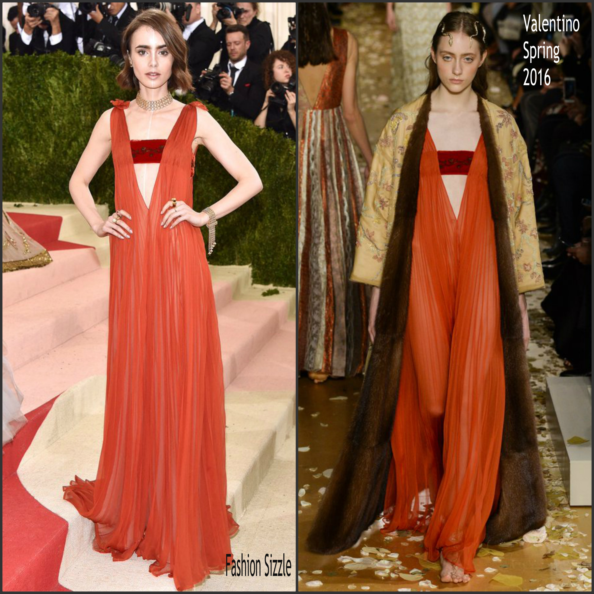 lily collins in valentino 2016 met gala fashion sizzle. Black Bedroom Furniture Sets. Home Design Ideas