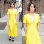 Lizzy Caplan in Roksanda  At The Late Show with Stephen Colbert