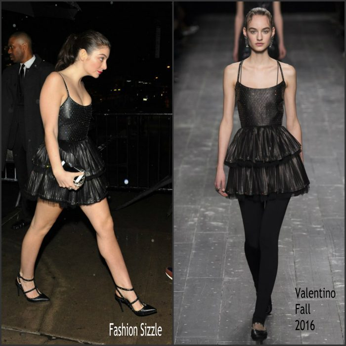 Lorde changed into a  black crystal-embroidered  Valentino Fall 2016 leather dress for the  Met Gala parties on May 2, 2016.