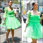 Rihanna  in  Molly Goddard and Aquazzura – Out In New York