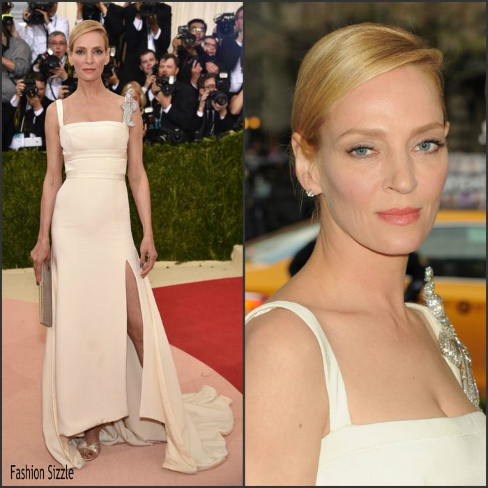 Uma Thurman attended t the 2016 MET Gala, Manus X Machina-Fashion in an Age of Technology at the Metropolitan Museum of Art in New York on May 2, 2016.