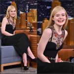 Elle Fanning  in  Alexander McQueen at Tonight Show Starring Jimmy Fallon