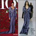 Renée Elise Goldsberry in Marc Jacobs at the 70th Annual Tony Awards