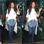 Rihanna in  Esteban Cortazar  White Tee- Out In London