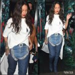 Rihanna in  Esteban Cortazar  White Tee- Out In London