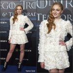Sophie Turner  In Louis Vuitton at Game of Thrones Madrid Fan Event