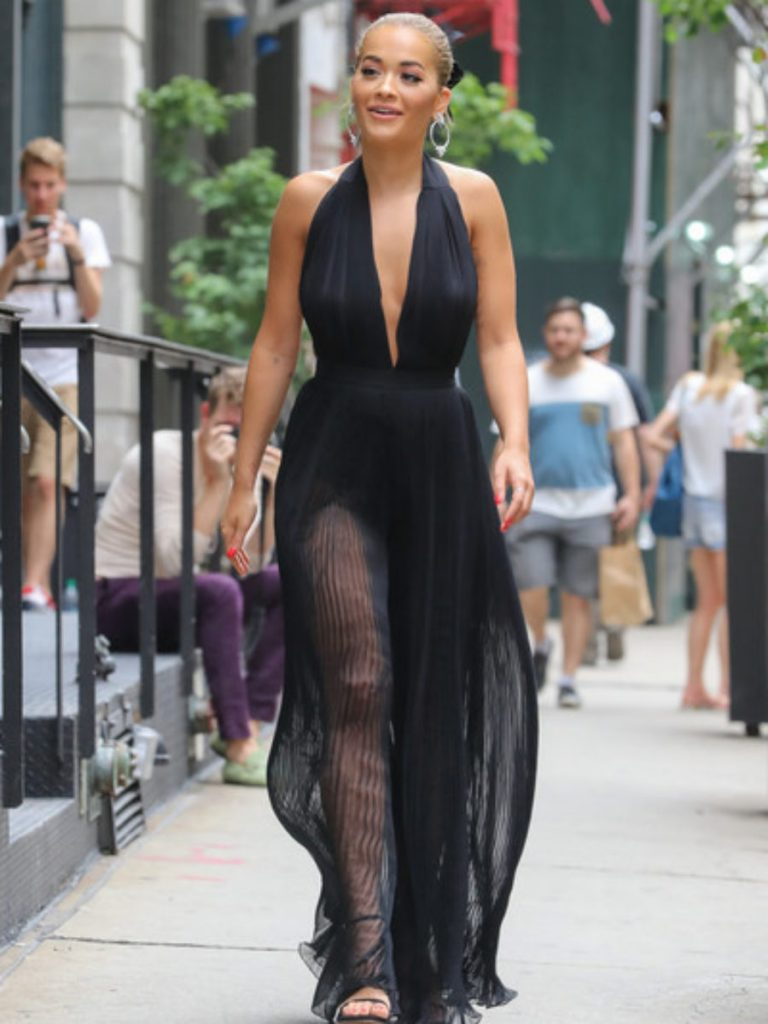 RitaOra-NYC-Balmain-Spring-2015-halter-dress-1-900x1200