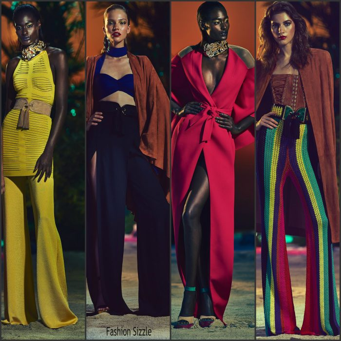 Balmain Resort 2017 Collection some of the detail of the presentation featured geometric colored patterns on the fabrics, tiered dresses, trousers, suede and denim , multicolored crochet and tweed designs.