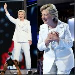 Hillary Clinton in a white pantsuit at the 2016 Democratic National Convention