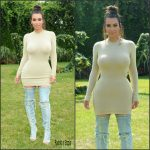 Kim Kardashian  in Trois  dress at  the Revolve Clothing Hampton House Summer Party