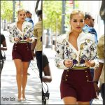Rita Ora in  Tommy Hilfiger  arriving for America's Next Top Model Taping