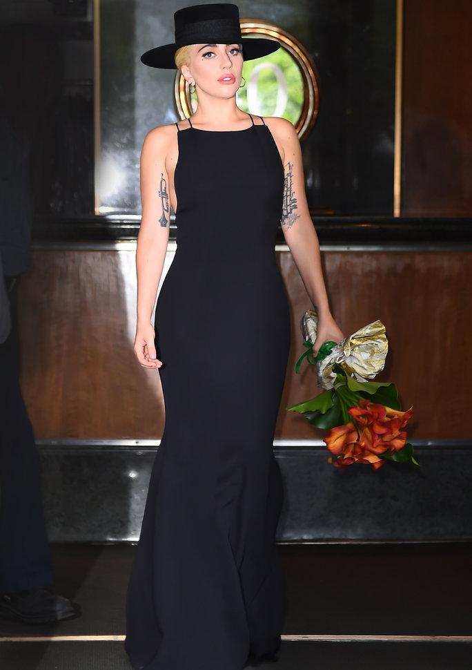 Lady Gaga in Carolina Herrera Celebrating Tony Bennett's Birthday