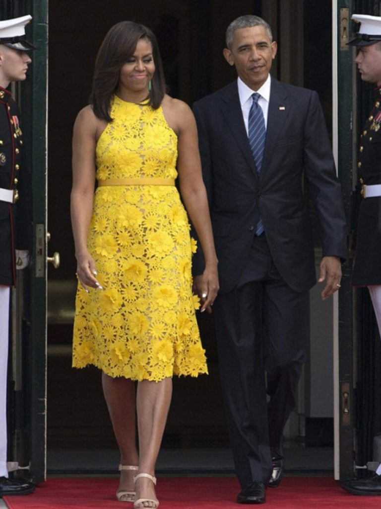 1-First-Lady-Michelle-Obama-Welcomes-Wears-Yellow-Naeem-Khan-Floral-Embroidered-Dress-900x1200