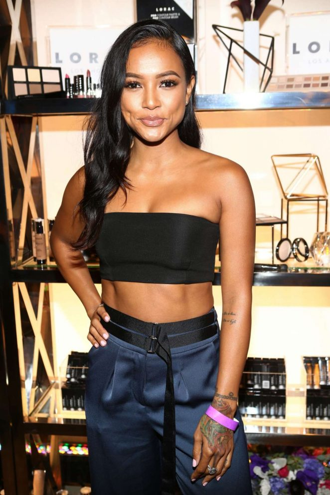 2-Karrueche-Tran-2016-Variety-Power-of-Young-Hollywood-topshop-navy-satin-wide-leg-trousers