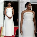 First Lady Michelle Obama In Brandon Maxwell  at State Dinner for Singapore Prime Minister