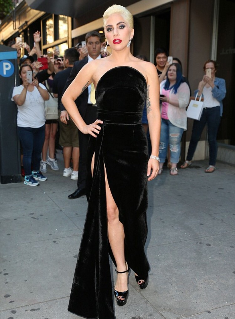 Lady Gaga in Carolina Herrera Celebrating Tony Bennett's Birthday