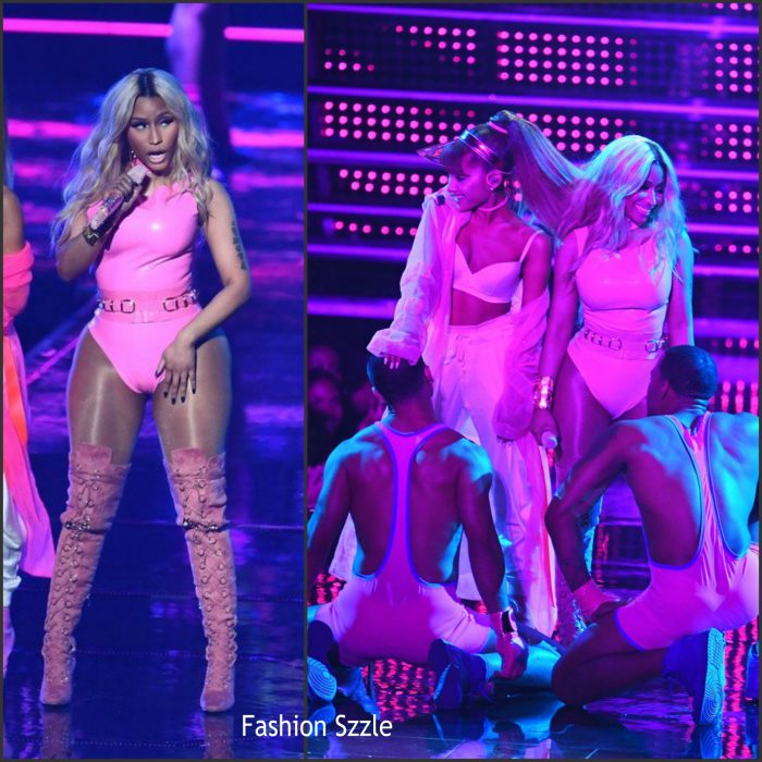 Nicki Minaj was in attendance and performed  at  the 2016 MTV Video Music Awards alongside Ariana Grande at Madison Square Garden in New York on Sunday August 28,2016.