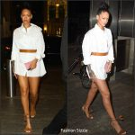 rihanna-in-shirt-dress-aquazzura-fringe-sandals-at-dinner-with-drake