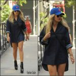 Rita Ora in denim shirt dress – Out In New York
