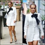Rita Ora  In White Romper  Leaving Her Soho Apartment in New York