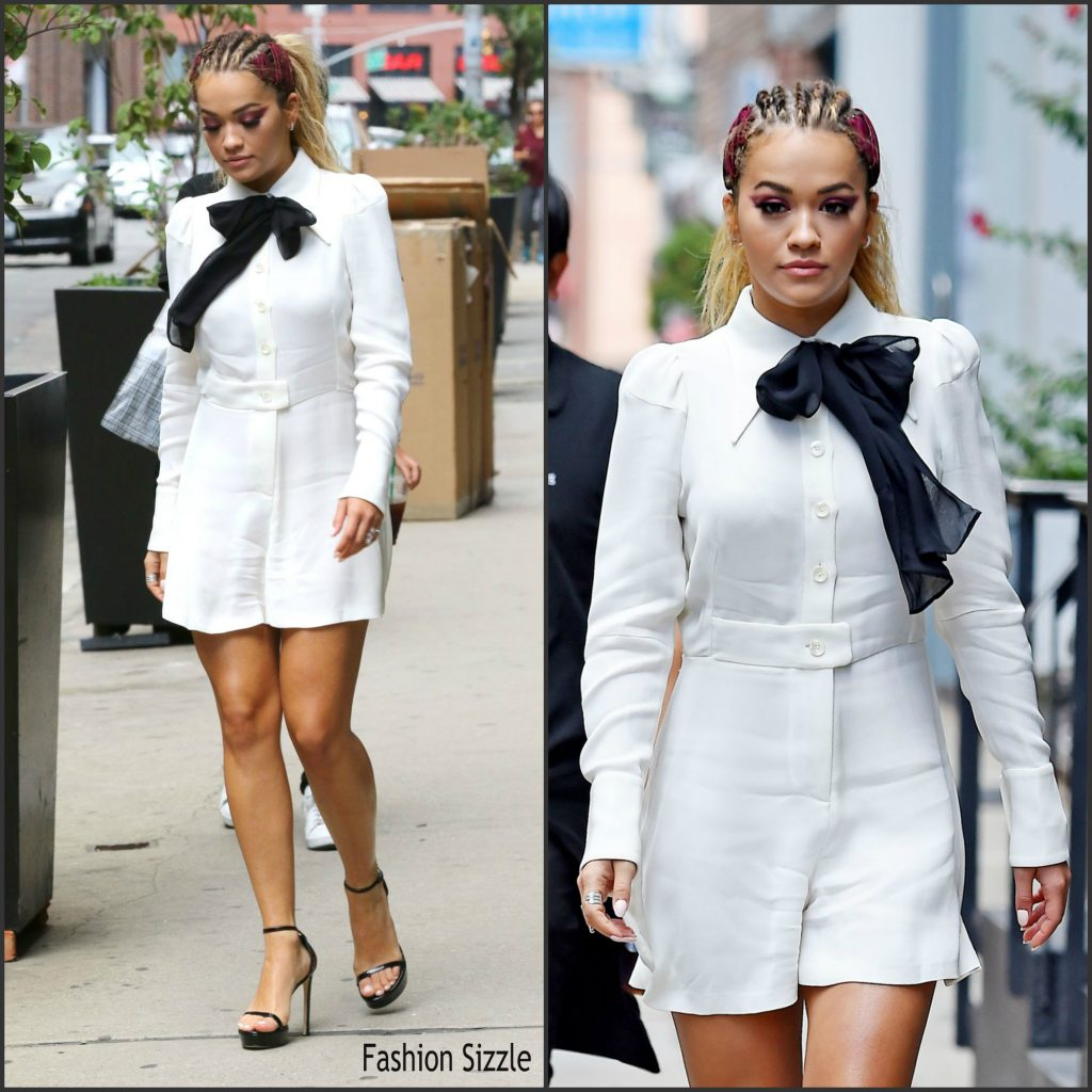 Rita Ora In White Romper Leaving Her Soho Apartment In New York