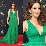 Tina Fey  In Oscar de la Renta  At the 68th Primetime Emmy Awards