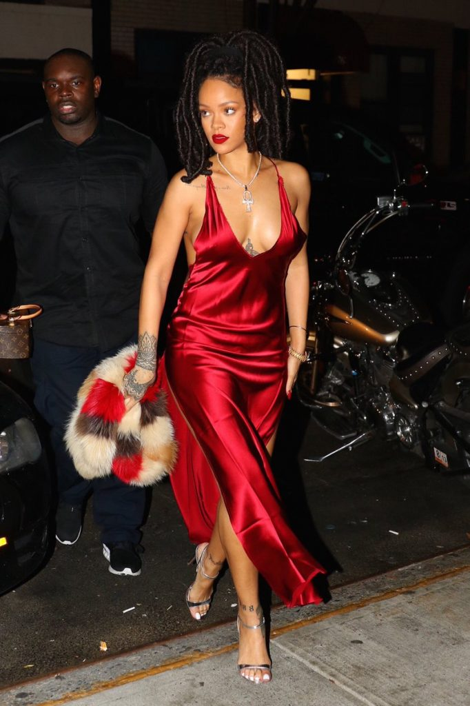 rihanna-in-are-you-am-i-red-gown-at-carbone-restaurant-in-new-york / ‎OK Cancel