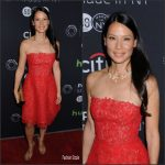 Lucy Liu  In Monique Lhuillier   At  'Elementary' 2016 Paleyfest Screening