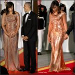 Michelle Obama   In  Atelier Versace At The  State Dinner in honor of Prime Minister Matteo Renzi