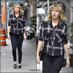 Taylor Swift In Rails Dylan Shirt   leaving her apartment in New York