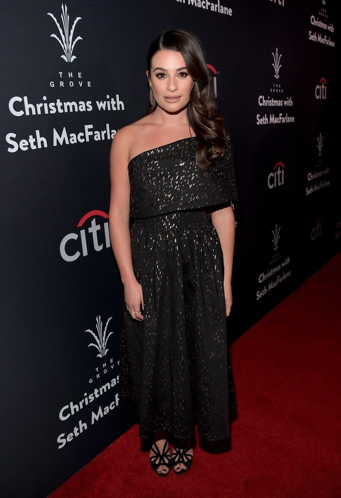 lea-michele-in-lela-rose-at-the-grove-christmas-with-seth-macfarlane-holiday-special