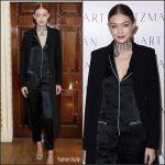 Gigi Hadid In Fleur Du Mal Pajama Jumpsuit  At  Stuart Weitzman VIP Dinner in London