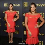 Gina Rodriguez  In  Herve Leger   At HFPA & InStyle Celebrate The 2017 Golden Globe Award Season