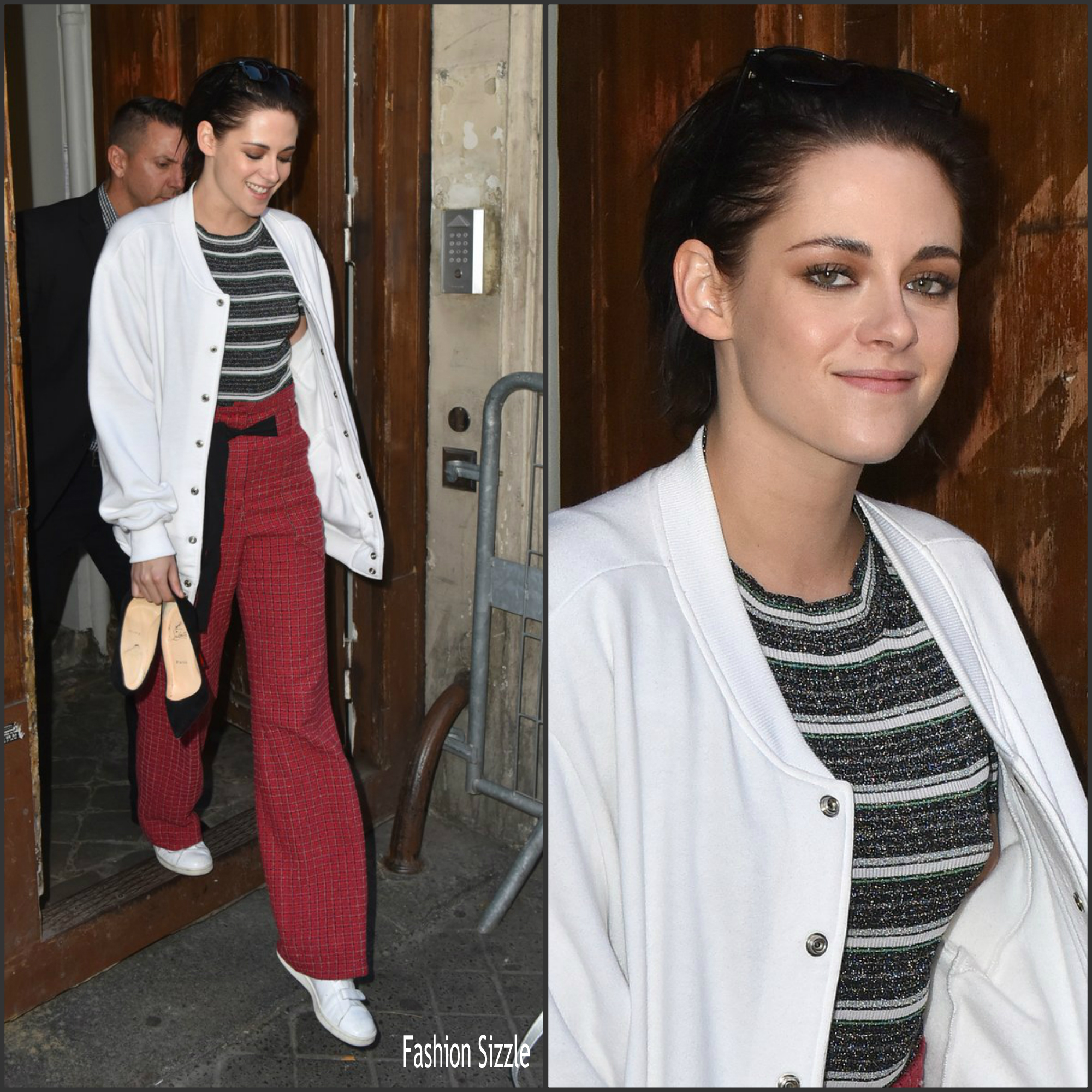 kristen stewart in chanel promoting personal shopper on c vous 39 tv in paris fashion sizzle. Black Bedroom Furniture Sets. Home Design Ideas
