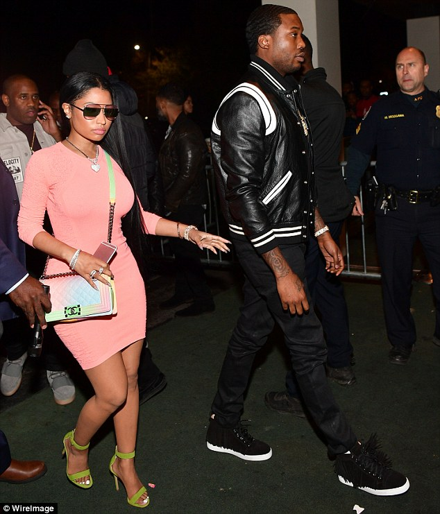 She stepped out on Friday to support her main squeeze Meek Mill. And Nicki Minaj made sure to stand out in the crowd with her candy colored ensemble while arriving to the Gold Room in Atlanta, Georgia. Read more: http://www.dailymail.co.uk/tvshowbiz/article-3997776/Nicki-Minaj-stuns-Versace-mini-4-5K-Chanel-bag-beau-Meek-s-bash-shares-steamy-PDA-snap-him.html#ixzz4RuG89iQr Follow us: @MailOnline on Twitter | DailyMail on Facebook