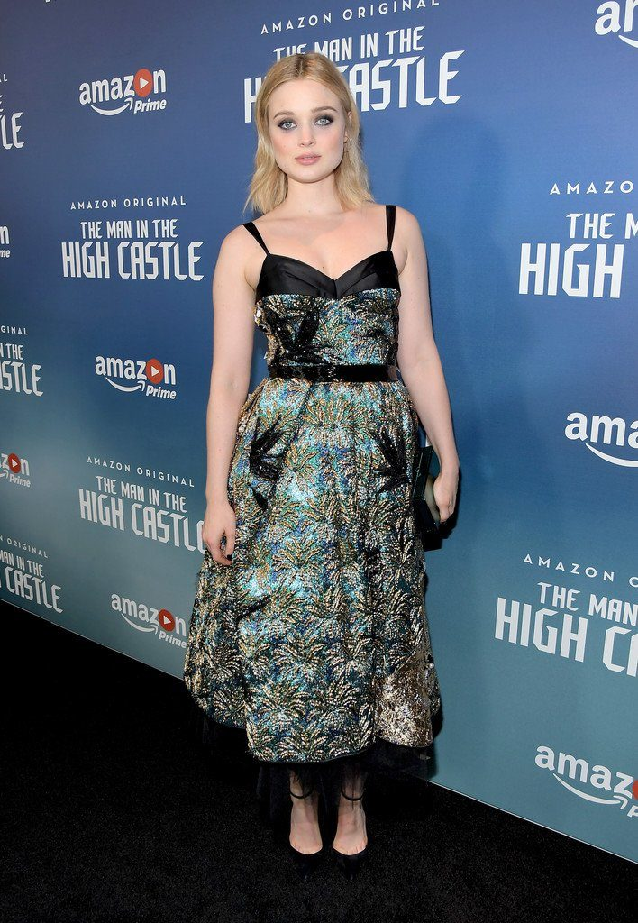 actress bella heathcote attended t the premiere screening of amazons man in the high castle season 2 at the pacific design center on december 8 2016 in