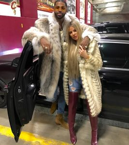 Tristan Thompson & Khloe Kardashian   Rocking Furs At  NBA GAME
