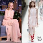 Elle Fanning  In Fendi  On  The Tonight Show  Starring Jimmy Fallon