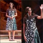 First Lady Michelle Obama Wears  Self Portrait  At  Spouses of Government Leaders Event During the UN General Assembly