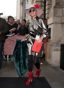 Lady Gaga   In  Ellery  Metallic  Dress Out In London