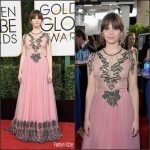 Felicity Jones In Gucci  At The 2017 Golden Globes Awards