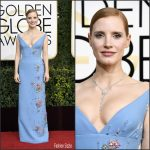 Jessica Chastain  In Prada At  The 2017 Golden Globe Awards