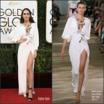 Louise Roe  In Monique Lhuillier At The 2017 Golden Globes Awards