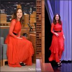 Dakota Johnson  In Gucci  At  The Tonight Show Starring Jimmy Fallon